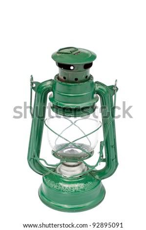 Old lantern isolated on white background - stock photo