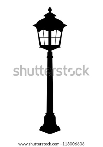 Old lantern silhouette. Raster Version. - stock photo