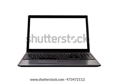 old laptop isolated on white background,clipping path