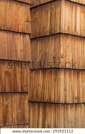 Old larch wood shingle wall - stock photo