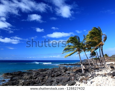 Old Lava Flow at Shoreline on Big Island of Hawaii - stock photo