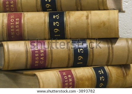 Old law reports from the 1930s. - stock photo
