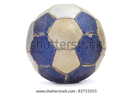 old leather ball on a white background - stock photo