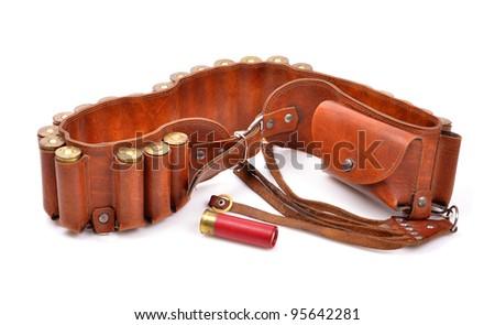 Old leather bandolier on a white background,single cartridge - stock photo