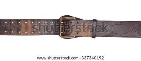 Old leather belt isolated on white - stock photo