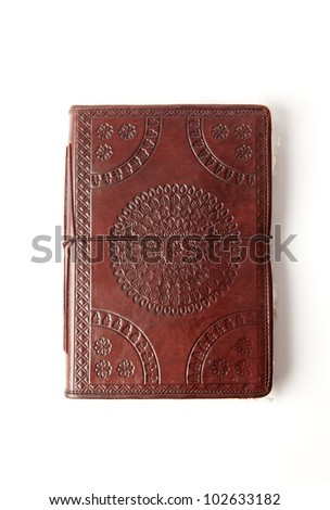 old leather book - stock photo