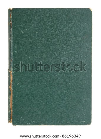 old leather book cover isolated on white - stock photo