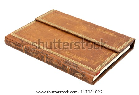 Old leather book isolated on white background