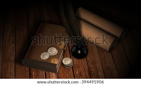 old leather book with quill and inkwell on wooden table in candlelight - stock photo