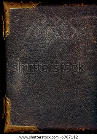 Old leather bound book - stock photo