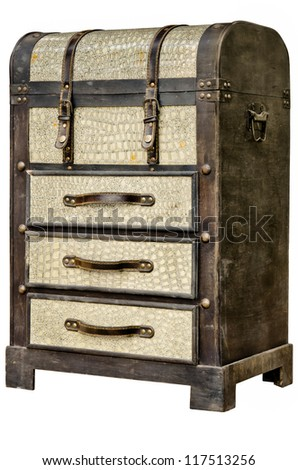 Old leather chest with many drawer isolate on white background - stock photo