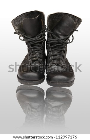 old leather military boots - stock photo