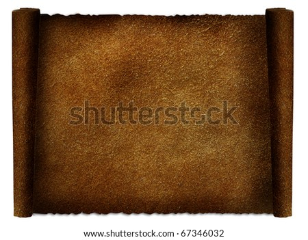 Old leather paper scroll isolated on white - stock photo