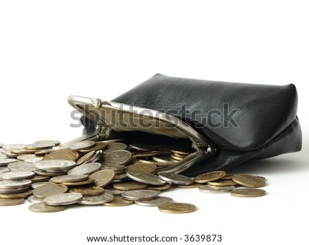 old leather purse with coins
