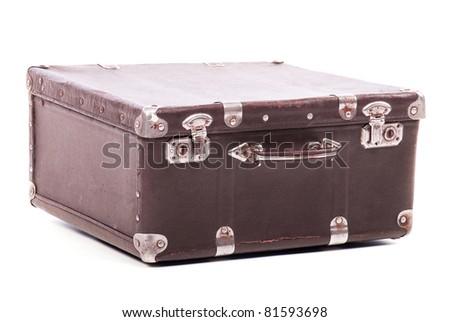 Old leather suitcase isolated on white background - stock photo