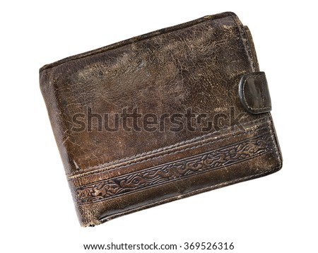 old leather wallet isolated on a white background
