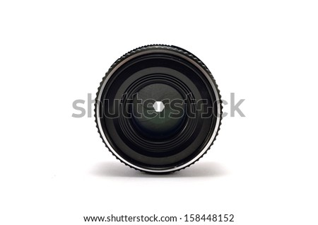 old lens on a white background