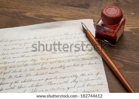 Old Letter and ink pen - stock photo