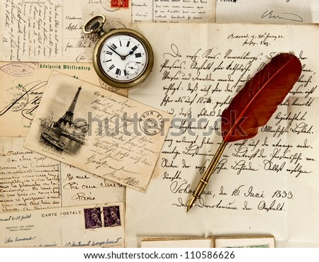old letter and post cards with feather quill and wax seal. vintage background - stock photo