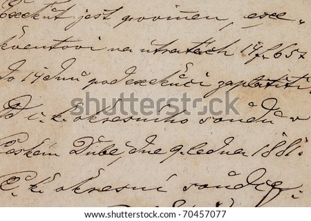 old letter 1881 detail of manuscript calligraphy - stock photo