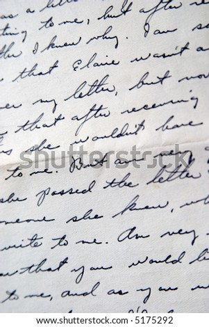 Old letter, handwriting. Family letter. - stock photo