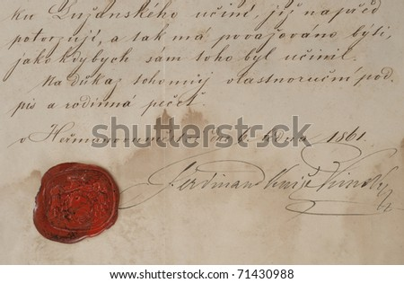Old letter with a red wax seal.