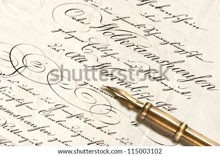 Old letter with calligraphic handwritten text and antique ink pen. vintage background - stock photo