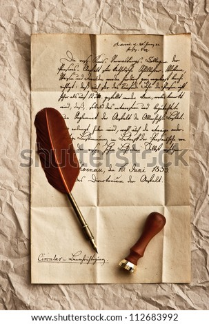 old letter with feather quill and wax seal. vintage background - stock photo