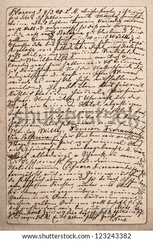 old letter with handwritten italian text from ca. 1908. grunge vintage background - stock photo