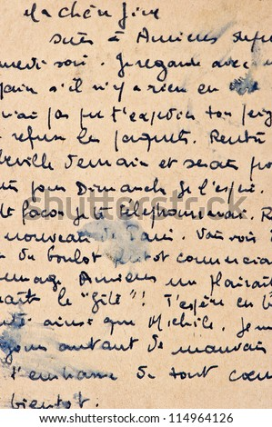 old letter with vintage handwriting. grunge background with french text - stock photo