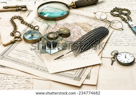 old letters and maps, vintage ink pen. ephemera and antique accessories. retro style toned picture - stock photo