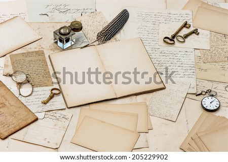 old letters, antique accessories and office tools. nostalgic sentimental paper background - stock photo