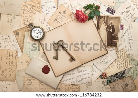 old letters, photographs and post cards. nostalgic vintage wedding background