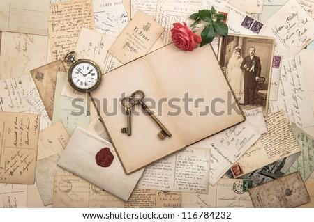 old letters, photographs and post cards. nostalgic vintage wedding background - stock photo