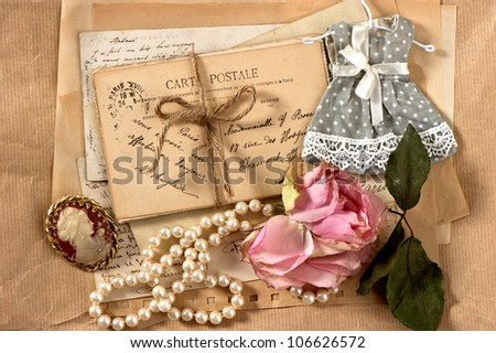old letters, postcards and vintage things. nostalgic background - stock photo
