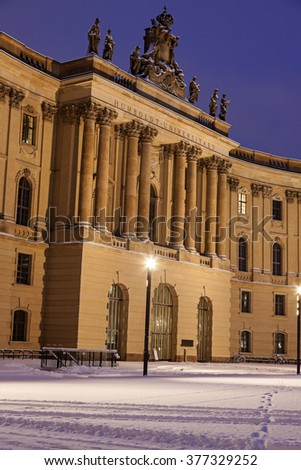 Old Library in Berlin during winter sunrise. Berlin, Germany