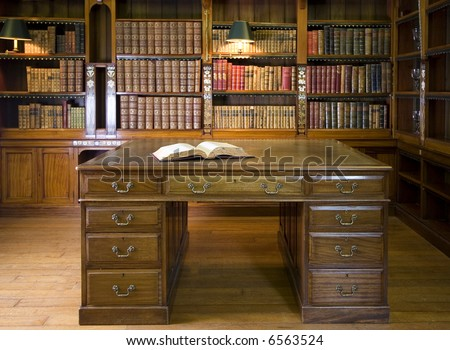 Old library or studying room - stock photo