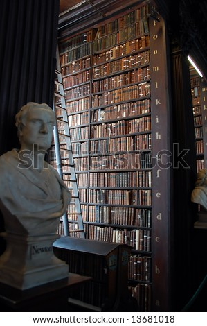 Old Library with Newton statue - stock photo