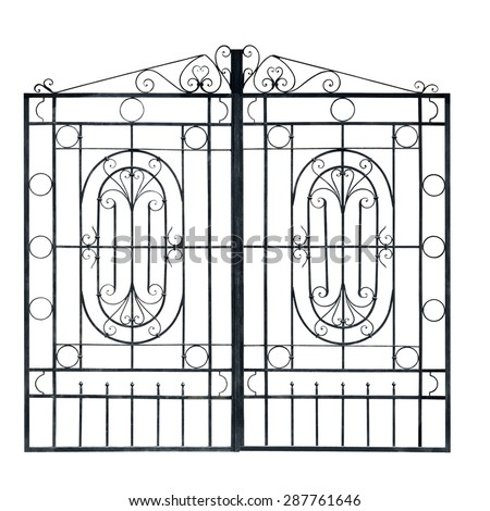 Old  light  forged  decorative gates.  Isolated over white background. - stock photo