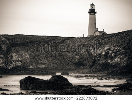 Old Light House Vintage Black and White Sepia Toned, Oregon Coast - stock photo
