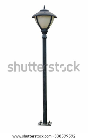 Old Light pole isolated on white blackgroud
