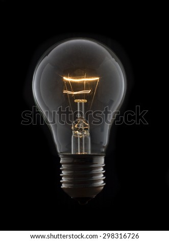 Old Lightbulb without wire in The Dark background