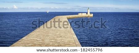 old lighthouse at valletta - malta - stock photo