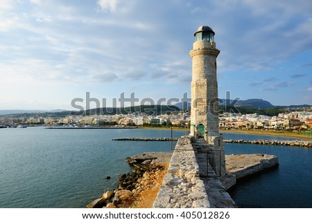Old lighthouse in city of Rethymno, Crete, Greece - stock photo