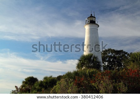 Old Lighthouse in the St. Marks National Wildlife Refuge on the Florida Gulf Coast