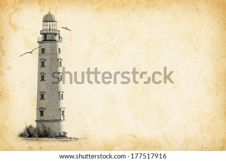 Old lighthouse on vintage background in the grunge style. Nautical texture background with a lighthouse tower for the retro concept of sea vacation. - stock photo