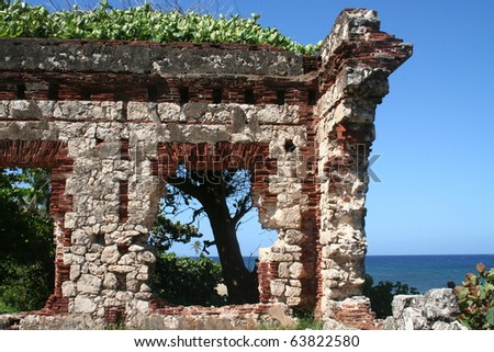 Old Lighthouse Ruins in Puerto Rico - stock photo