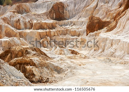 Old limestone and kaolin quarry to produce china clay and porcelain - stock photo