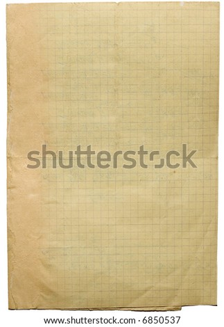 Old lined folded school paper from writing-book of  mathematics subject.Image on white - stock photo