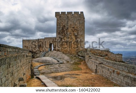 Old Linhares castle in Celorico da Beira, Portugal - stock photo